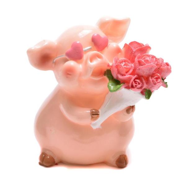 année du cochon une figure en rose