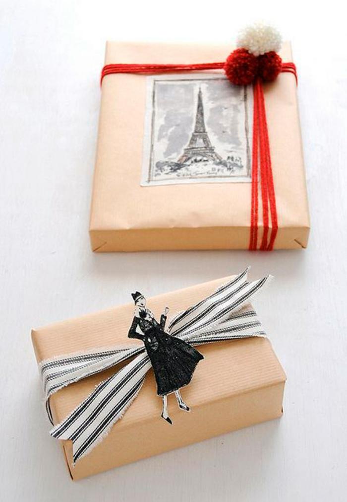 belle déco avec papier cadeau kraft pour noël