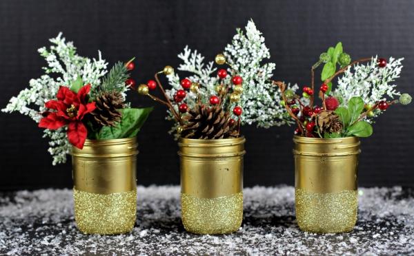 bocal de Noël paillettes dorées