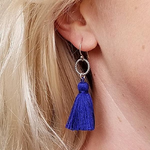 boucles d'oreilles fait main franges en lilas