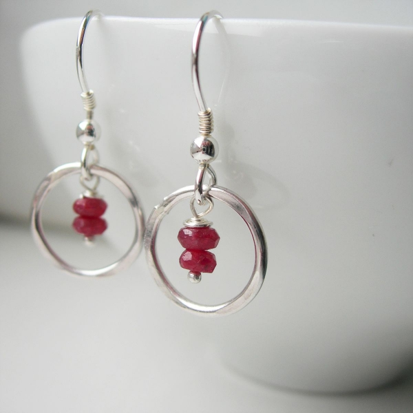 boucles d'oreilles fait main rubis rouge naturel
