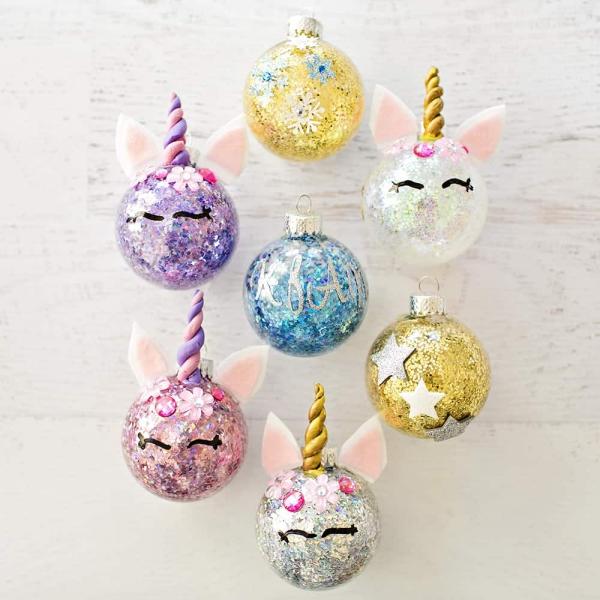 boule de Noël à fabriquer boules unicornes