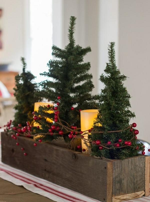 centre de table noël à faire soi-même boîte en bois mini sapins
