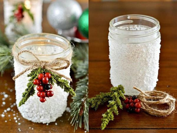 centre de table noël à faire soi-même bocal sel grossier