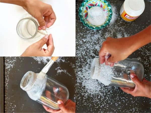 centre de table noël à faire soi-même bocaux sel grossier