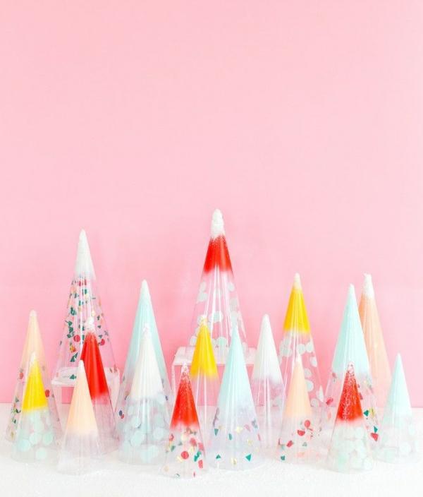 centre de table noël à faire soi-même cône confetti