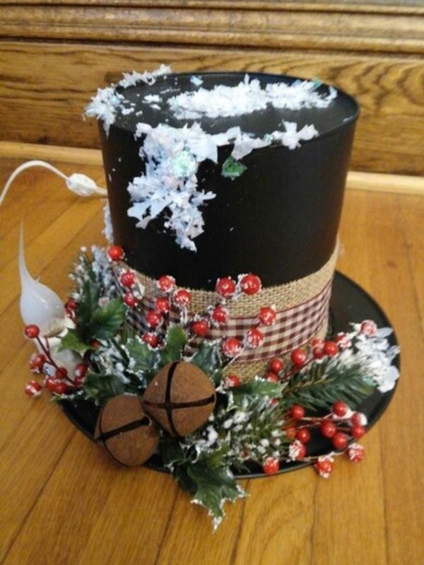 centre de table noël à faire soi-même chapeau bonhomme de neige