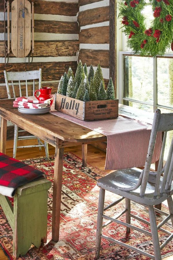 centre de table noël à faire soi-même forêt de sapins