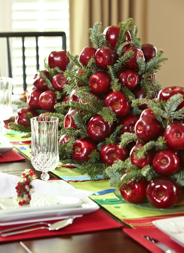centre de table noël à faire soi-même pommes rouges verdure