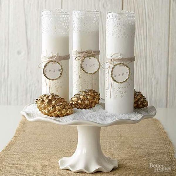 centre de table noël à faire soi-même support à gâteau sucre grossier rouleaux en papier