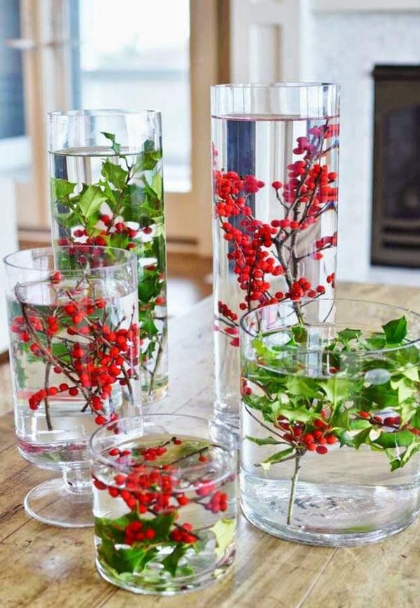centre de table noël à faire soi-même vase brins de houx