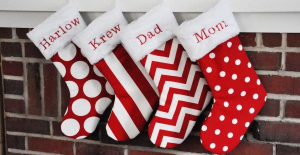 chaussette de Noël à fabriquer bas à chevrons et à pois