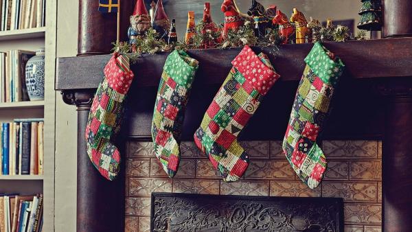 chaussette de Noël à fabriquer en matière de velours