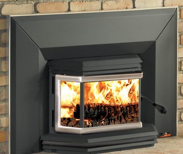 cheminée avec insert couleur grise