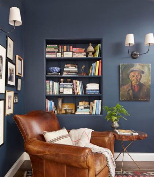 coin lecture mur bleu