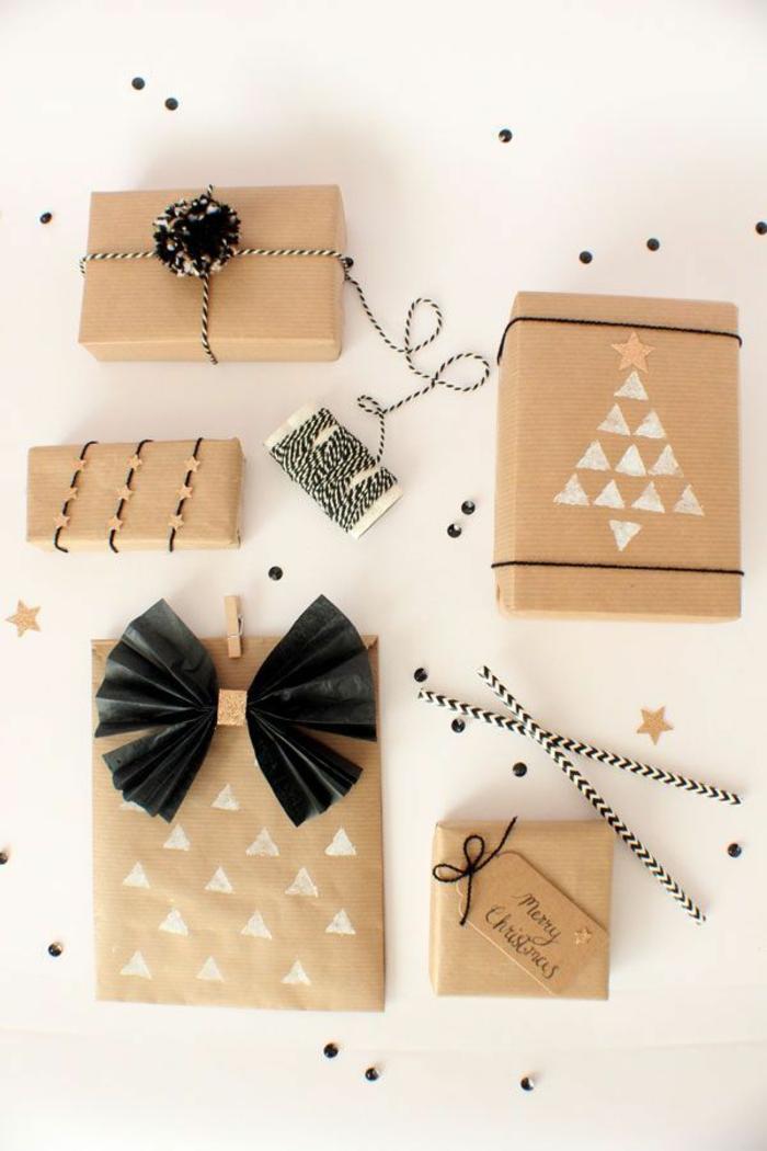 comment décorer papier cadeau kraft
