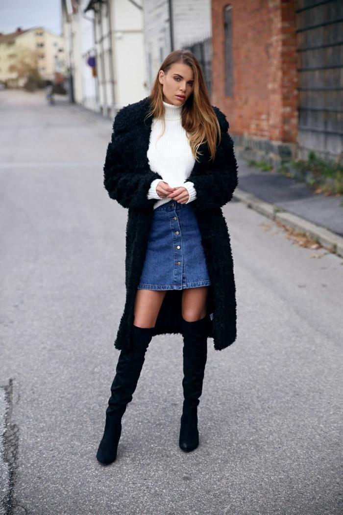comment porter des cuissardes avec une jupe en jean