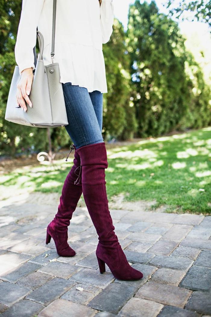 comment porter des cuissardes bordeaux avec jean