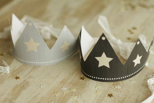 couronne Épiphanie deux couronnes grise et noire
