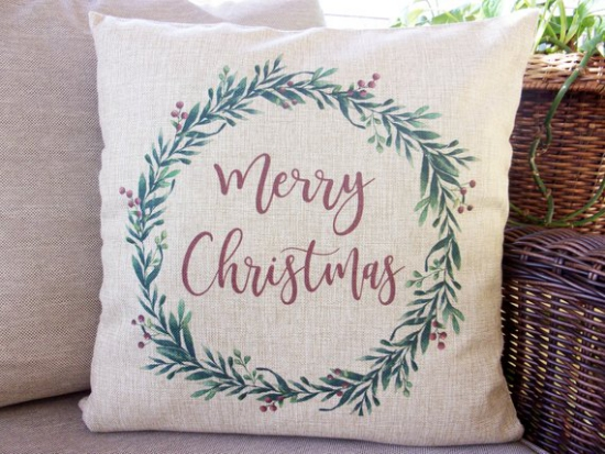 coussin Noël personnalisé merry christmas