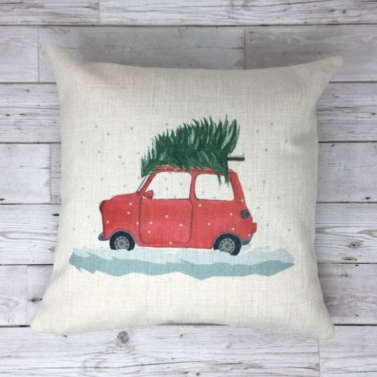 coussin Noël personnalisé petite voiture