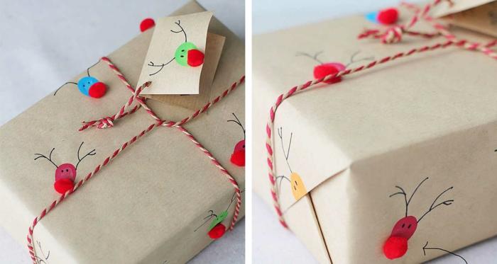 déco avec des pompons papier cadeau kraft