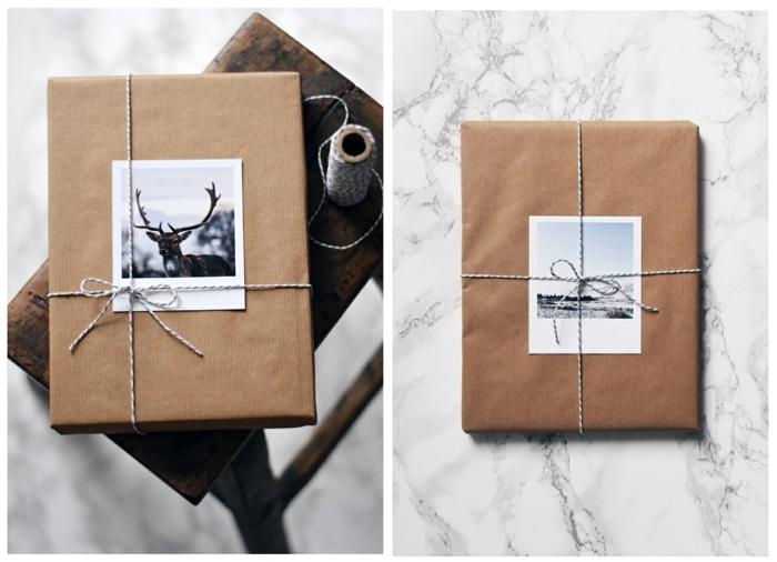 déco emballage avec des photos et papier cadeau kraft pour noël