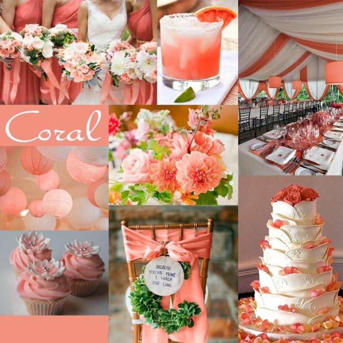 déco mariage idées en living coral couleur pantone 2019