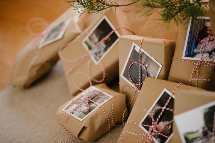 déco papier cadeau kraft avec des photos