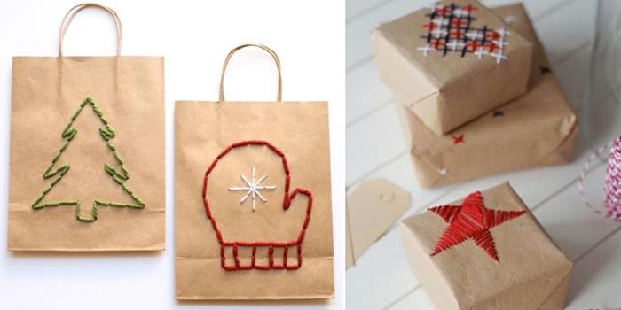 déco papier cadeau kraft originale avec aiguille et ficelle