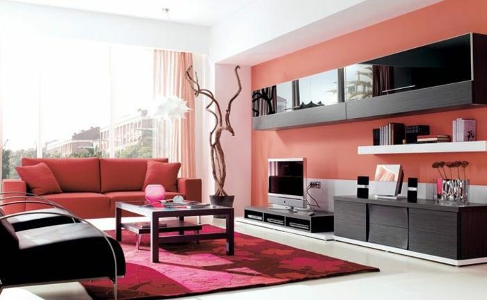 déco salon living coral pantone 2019