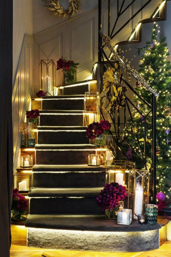 décoration escalier noël bougeoirs en verre