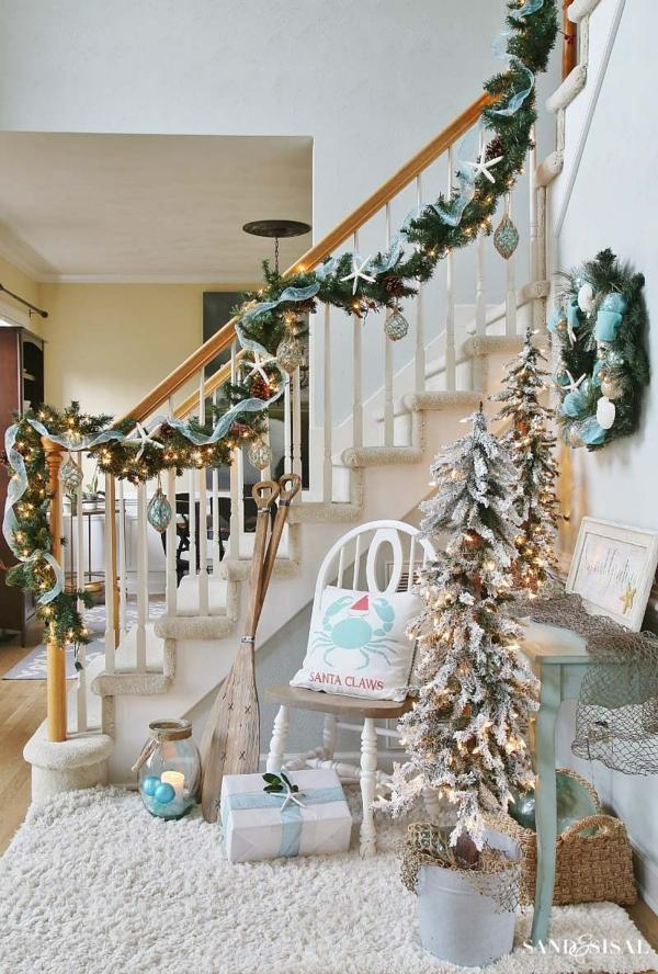 décoration escalier noël vintage
