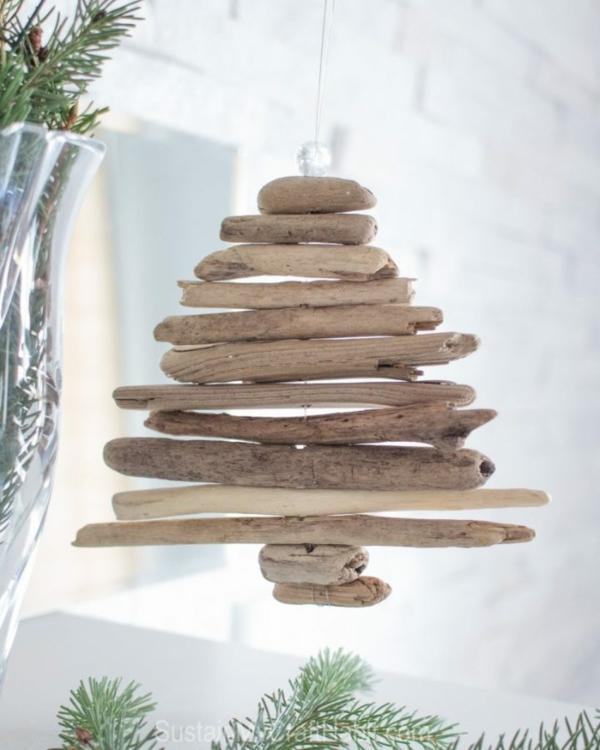 décorer son sapin de noël déco bois flotté