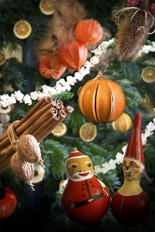 décorer son sapin de noël fruits noix épices