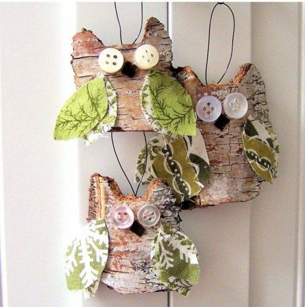 décorer son sapin de noël hibou écorce de bois