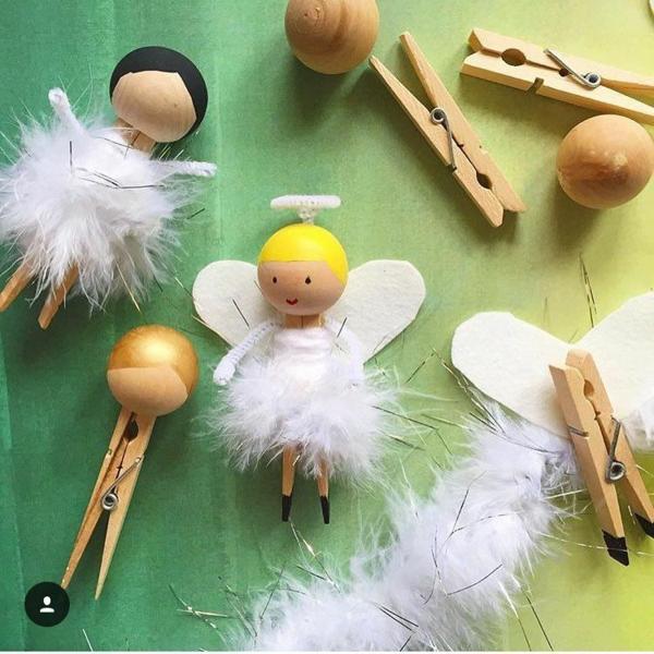 décorer son sapin de noël pinces de linge en bois