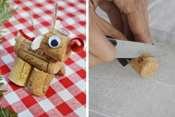 décorer son sapin de noël renne bouchons de liège