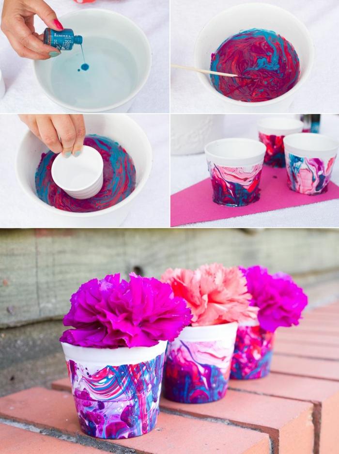 diy comment faire une boule de noël marbrée diy facile avec pot de fleurs
