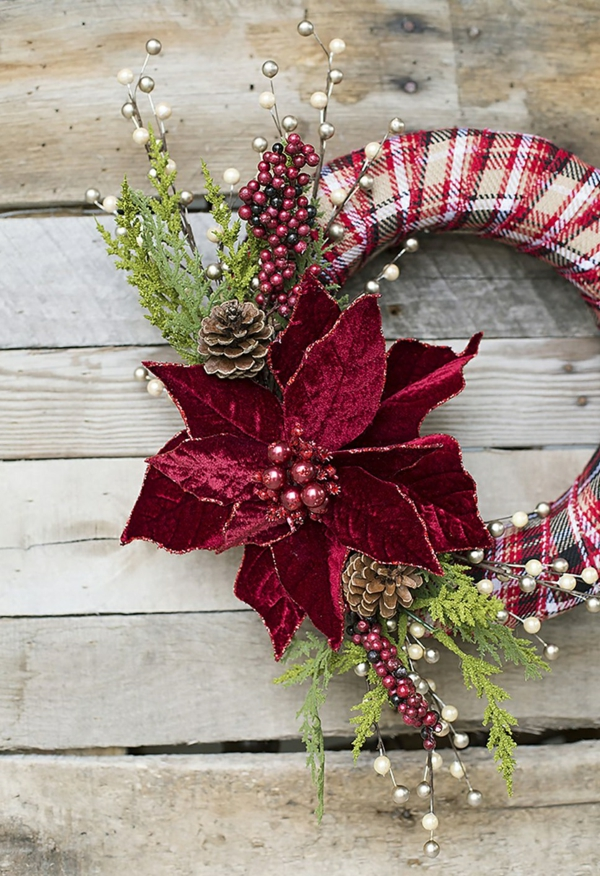 diy couronne noël poinsettia ruban