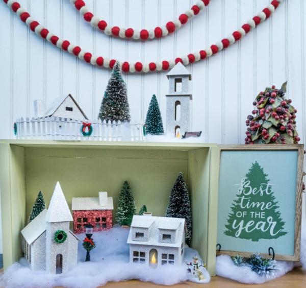 fabriquer un village de Noël à deux niveaux