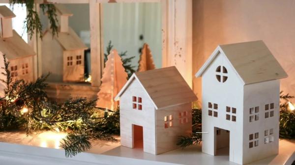 fabriquer un village de Noël en contreplaqué