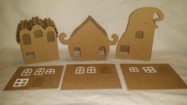 fabriquer un village de Noël maisonnettes comme champignons