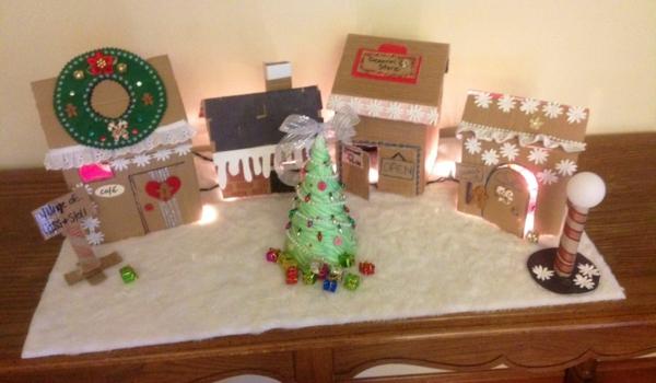 fabriquer un village de Noël ouatine pour support