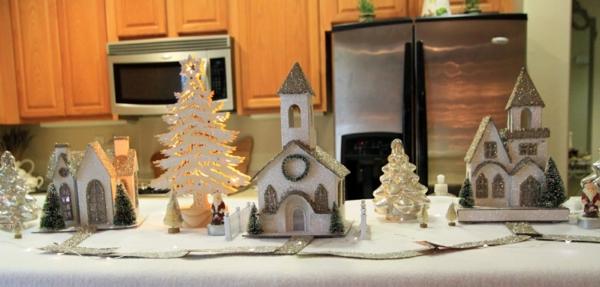 fabriquer un village de Noël village argenté