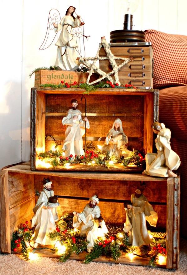 fabriquer une crèche de Noël décor vintage