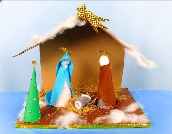 fabriquer une crèche de Noël une crèche simple