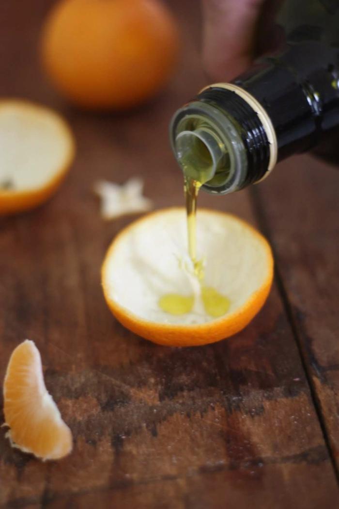 huile d'olive idée diy bougie avec des épluchures