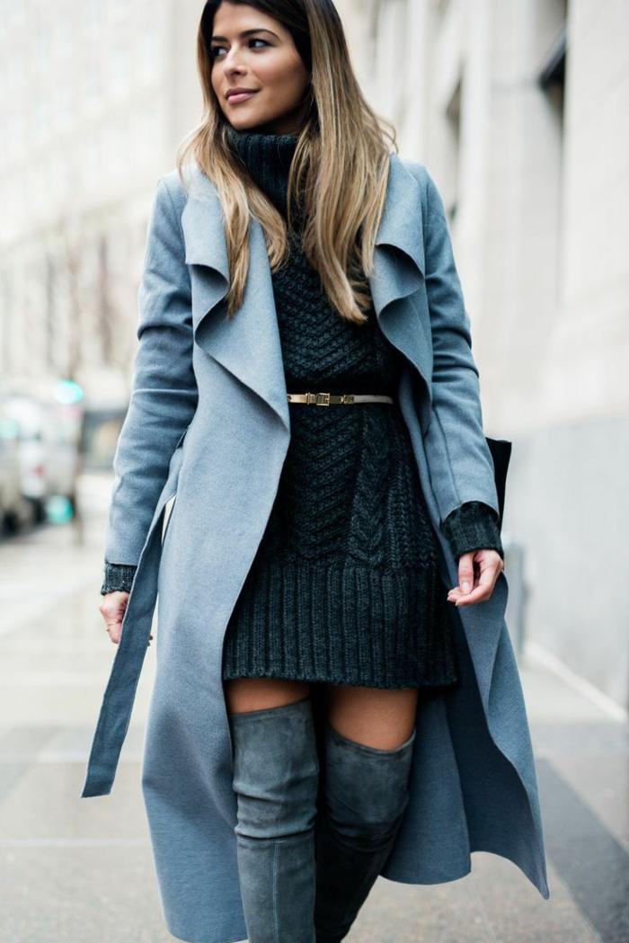 idée comment porter des cuissardes avec une robe pull