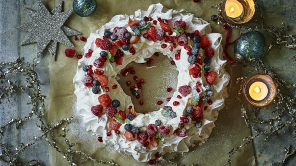 idée couronne noël comestible tarte pavlova